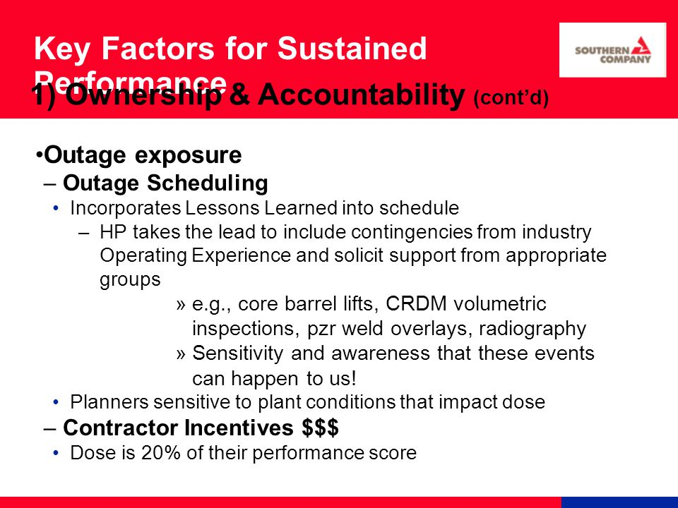 Key Factors for Sustained Performance Outage exposure – Outage Scheduling Incorporates Lessons Learned into schedule –HP takes the lead to include con