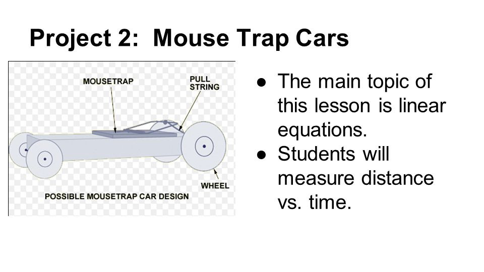 Project 2: Mouse Trap Cars ●The main topic of this lesson is linear equations.