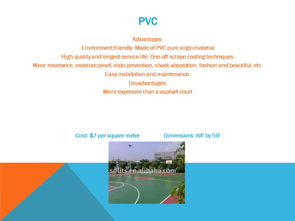 PVC Advantages: Environment friendly: Made of PVC pure virgin material High quality and longest service life: One-off scrape coating techniques.