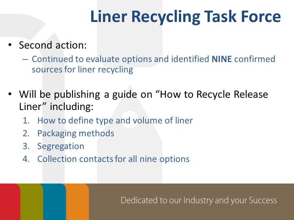 Second action: – Continued to evaluate options and identified NINE confirmed sources for liner recycling Will be publishing a guide on How to Recycle Release Liner including: 1.How to define type and volume of liner 2.Packaging methods 3.Segregation 4.Collection contacts for all nine options Liner Recycling Task Force