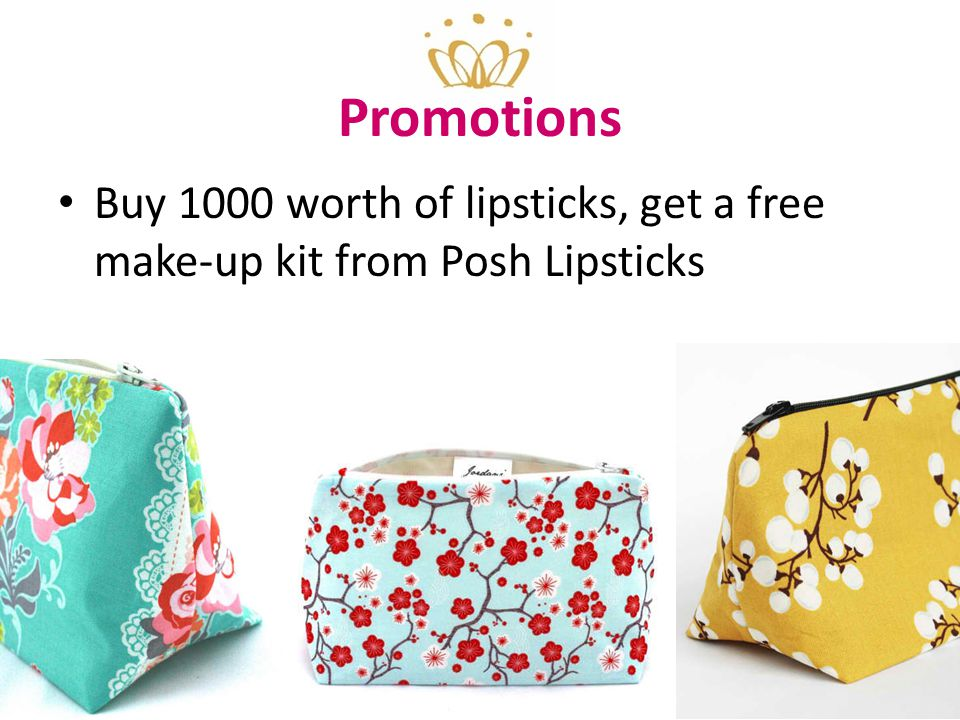 Promotions Buy 1000 worth of lipsticks, get a free make-up kit from Posh Lipsticks