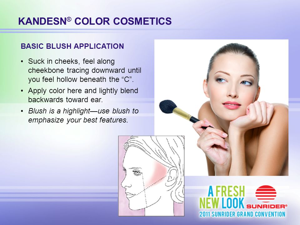 """KANDESN ® COLOR COSMETICS Suck in cheeks, feel along cheekbone tracing downward until you feel hollow beneath the """"C"""". Apply color here and lightly bl"""