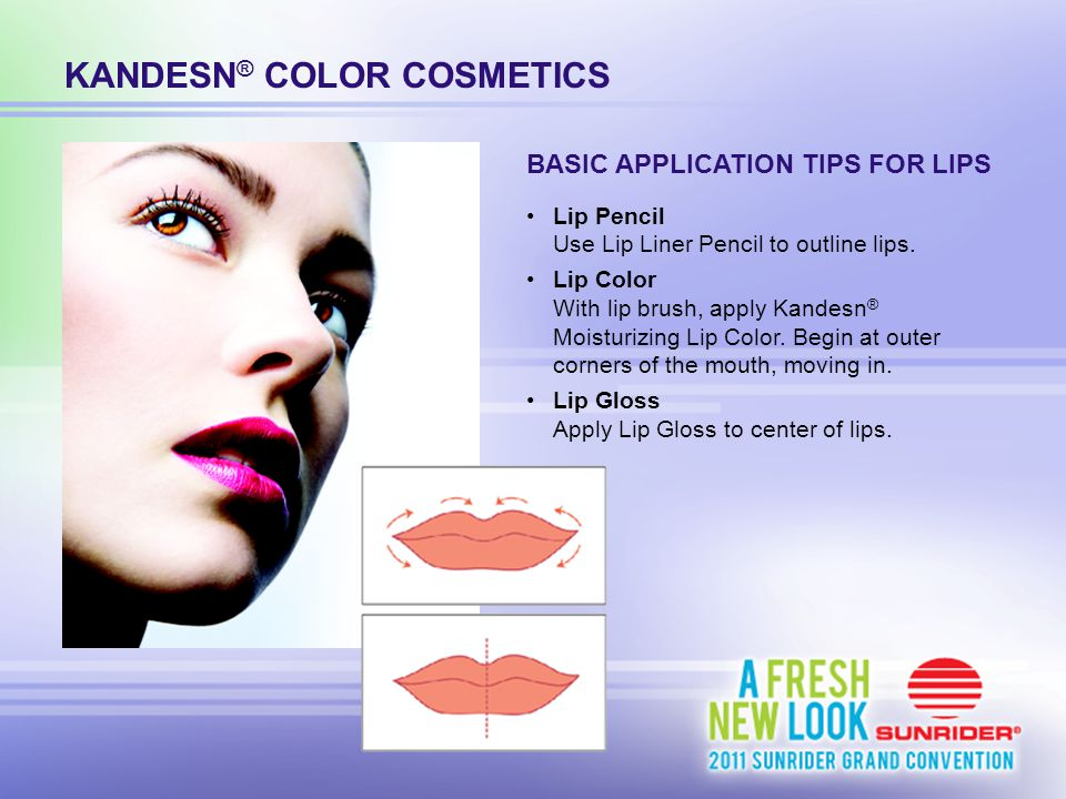 KANDESN ® COLOR COSMETICS Lip Pencil Use Lip Liner Pencil to outline lips. Lip Color With lip brush, apply Kandesn ® Moisturizing Lip Color. Begin at