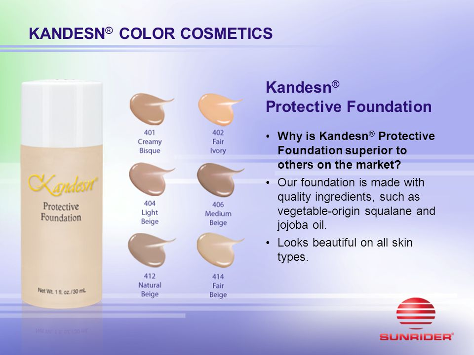 Kandesn ® Protective Foundation Why is Kandesn ® Protective Foundation superior to others on the market? Our foundation is made with quality ingredien