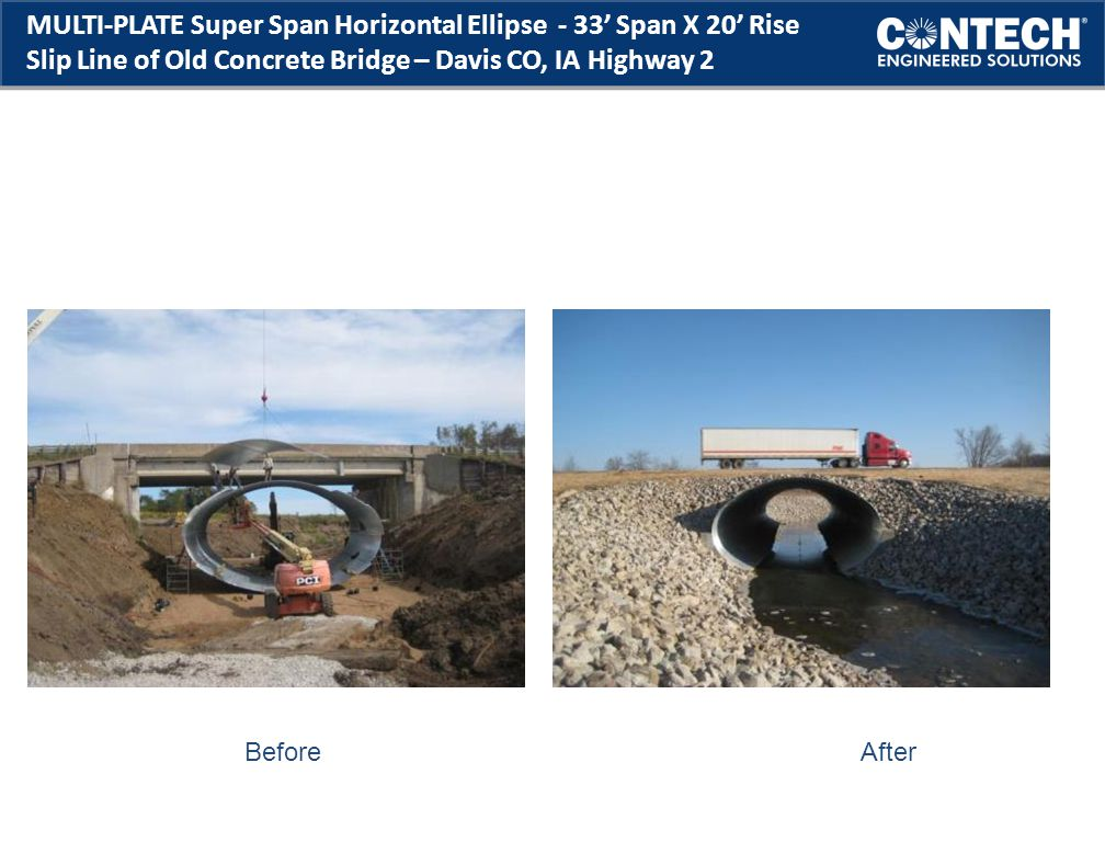 MULTI-PLATE Super Span Horizontal Ellipse - 33' Span X 20' Rise Slip Line of Old Concrete Bridge – Davis CO, IA Highway 2 Before After