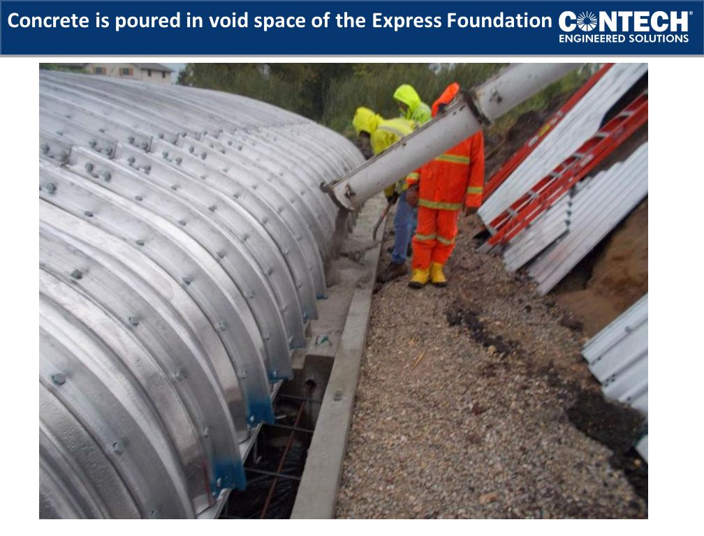 Concrete is poured in void space of the Express Foundation