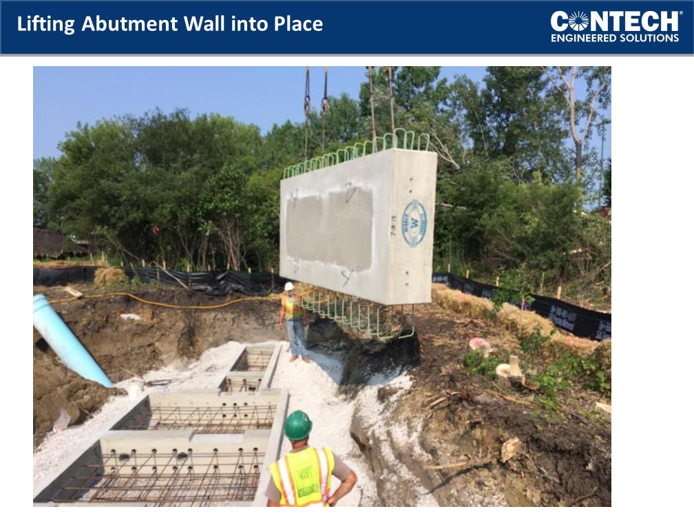 Lifting Abutment Wall into Place