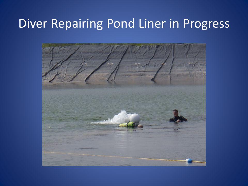 Diver Repairing Pond Liner in Progress