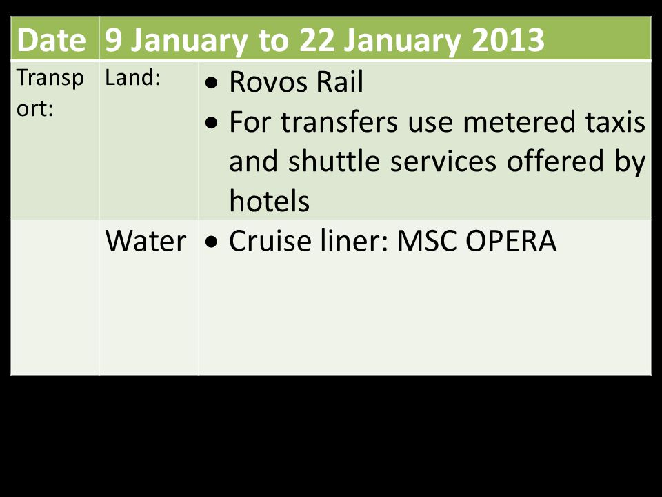 Date9 January to 22 January 2013 Transp ort: Land:  Rovos Rail  For transfers use metered taxis and shuttle services offered by hotels Water  Cruise liner: MSC OPERA