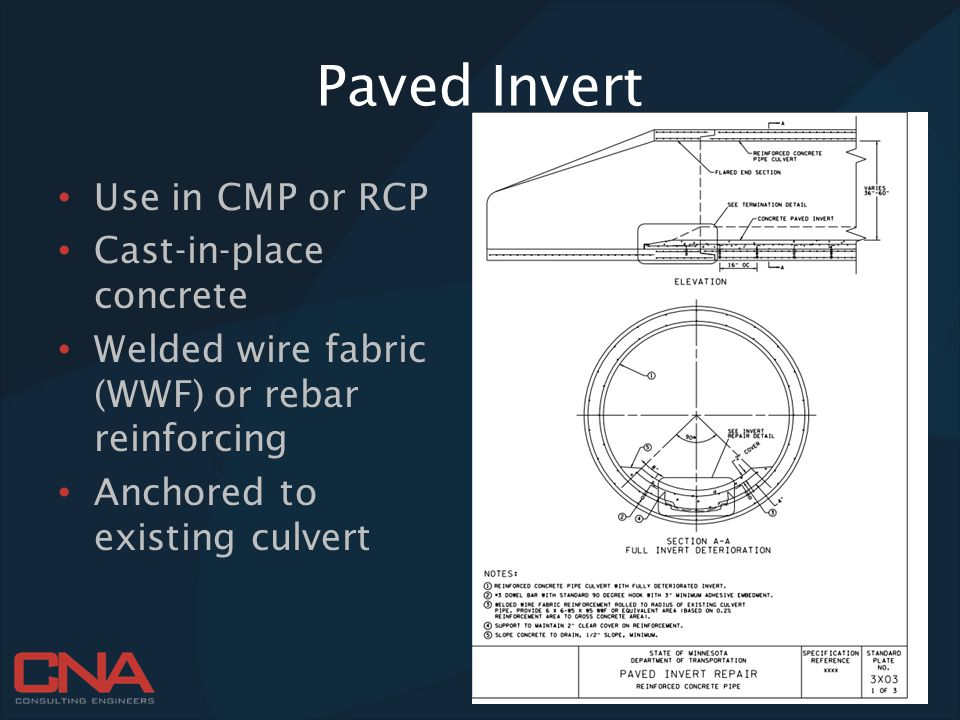 Paved Invert Use in CMP or RCP Cast-in-place concrete Welded wire fabric (WWF) or rebar reinforcing Anchored to existing culvert