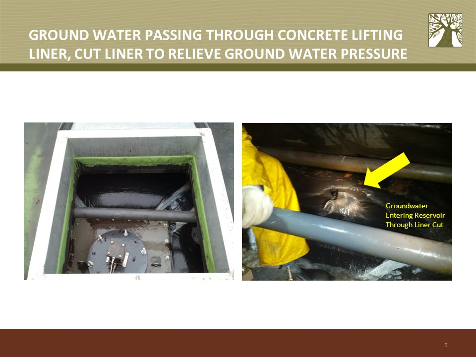 5 GROUND WATER PASSING THROUGH CONCRETE LIFTING LINER, CUT LINER TO RELIEVE GROUND WATER PRESSURE Groundwater Entering Reservoir Through Liner Cut