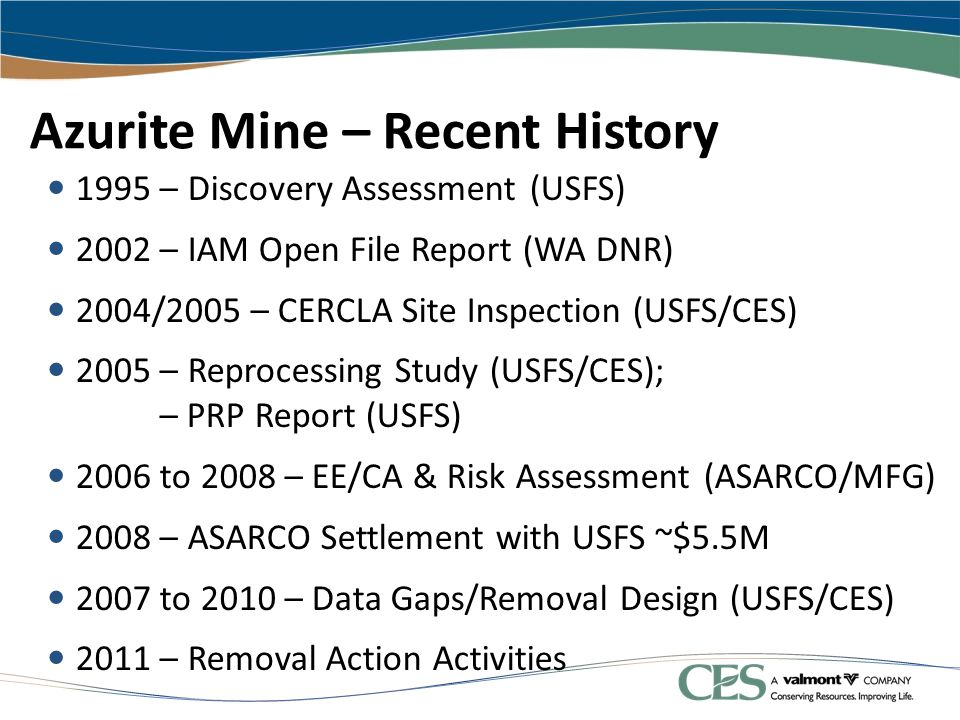 Azurite Mine – Recent History 1995 – Discovery Assessment (USFS) 2002 – IAM Open File Report (WA DNR) 2004/2005 – CERCLA Site Inspection (USFS/CES) 20