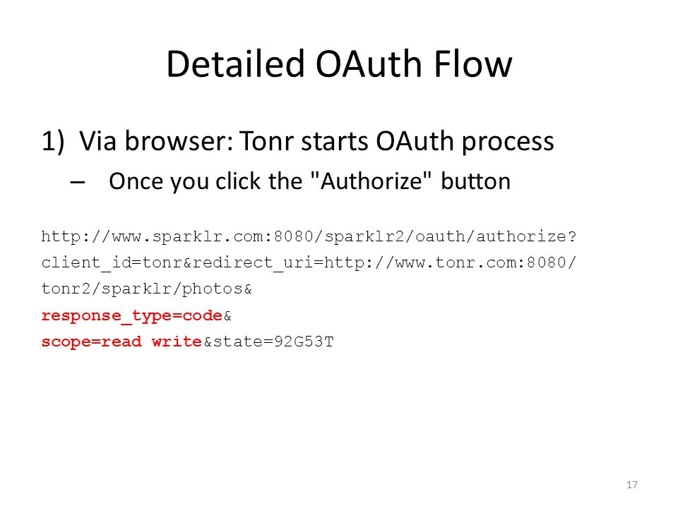 Detailed OAuth Flow 1)Via browser: Tonr starts OAuth process – Once you click the