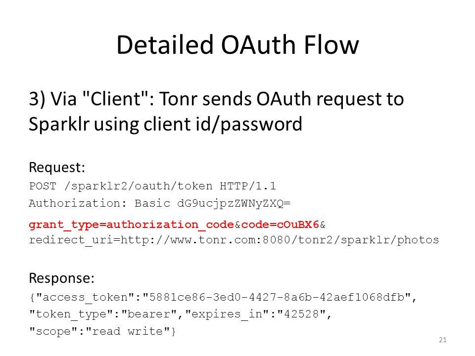 Detailed OAuth Flow 3) Via