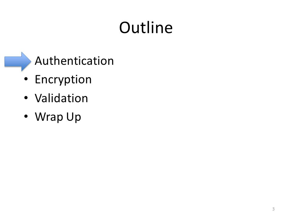 Outline Authentication Encryption Validation Wrap Up 3