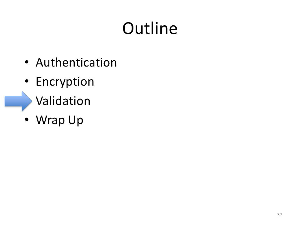 Outline Authentication Encryption Validation Wrap Up 37