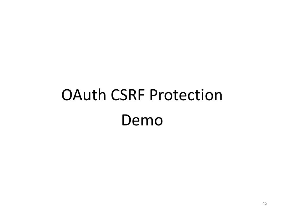 OAuth CSRF Protection Demo 45