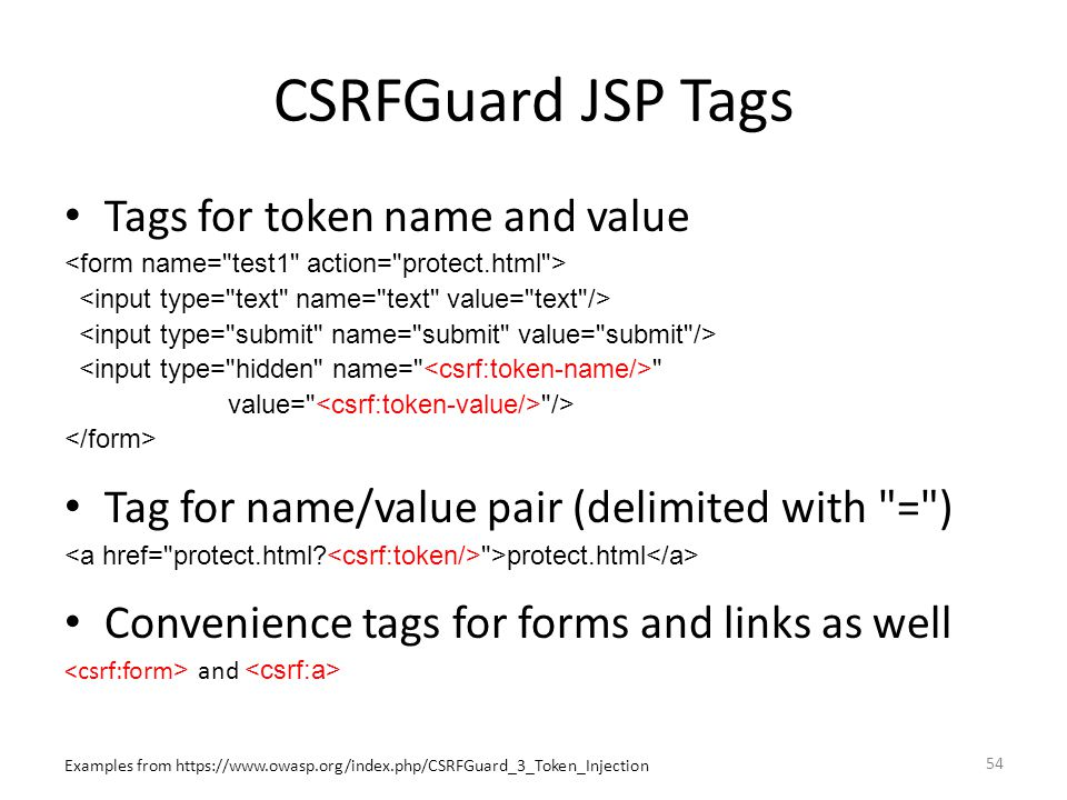 CSRFGuard JSP Tags Tags for token name and value