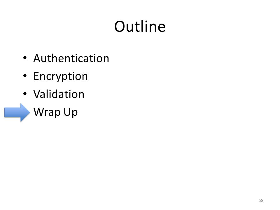 Outline Authentication Encryption Validation Wrap Up 58