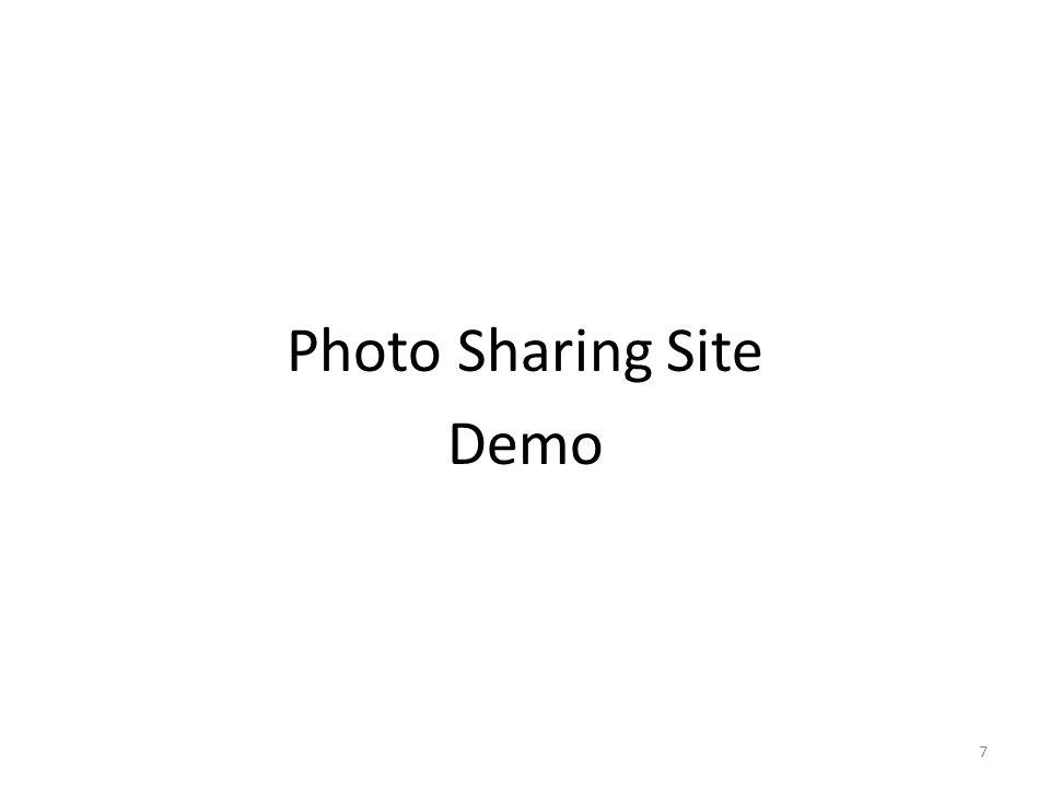 Photo Sharing Site API http://www.sparklr.com:8080/sparklr2/photos?&format=json { photos : [ { id : 1 , name : photo1.jpg }, { id : 3 , name : photo3.jpg }, { id : 5 , name : photo5.jpg }] } 8