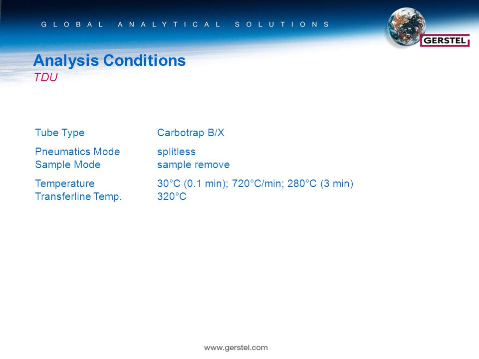 Analysis Conditions TDU Tube TypeCarbotrap B/X Pneumatics Modesplitless Sample Modesample remove Temperature30°C (0.1 min); 720°C/min; 280°C (3 min) Transferline Temp.320°C