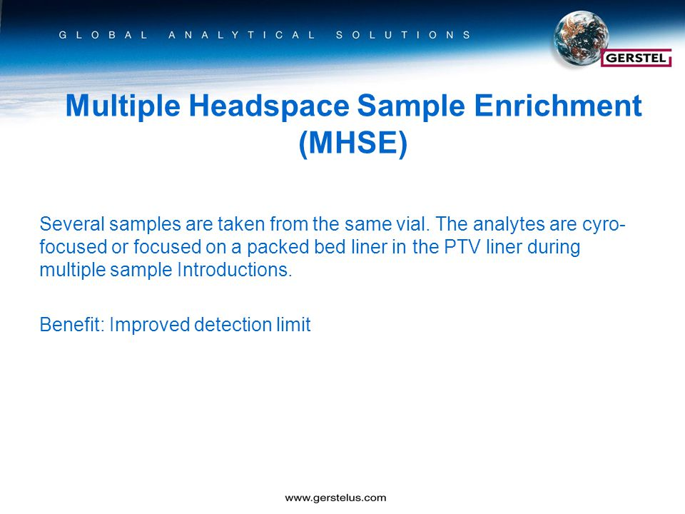 Multiple Headspace Sample Enrichment (MHSE) Several samples are taken from the same vial.