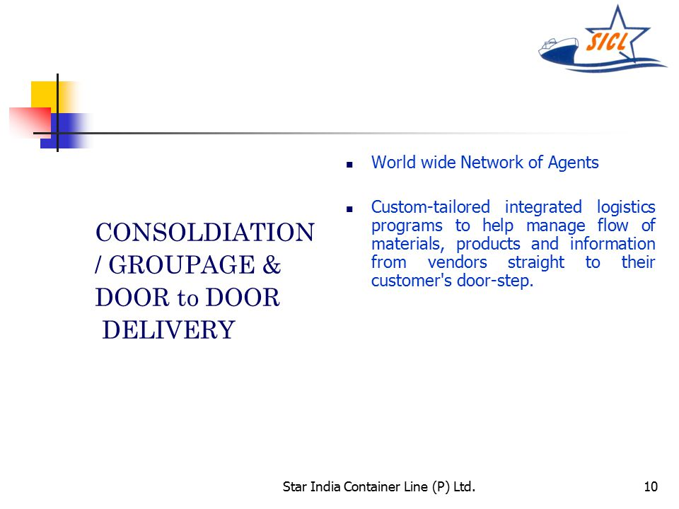 Star India Container Line (P) Ltd.10 CONSOLDIATION / GROUPAGE & DOOR to DOOR DELIVERY World wide Network of Agents Custom-tailored integrated logistics programs to help manage flow of materials, products and information from vendors straight to their customer s door-step.