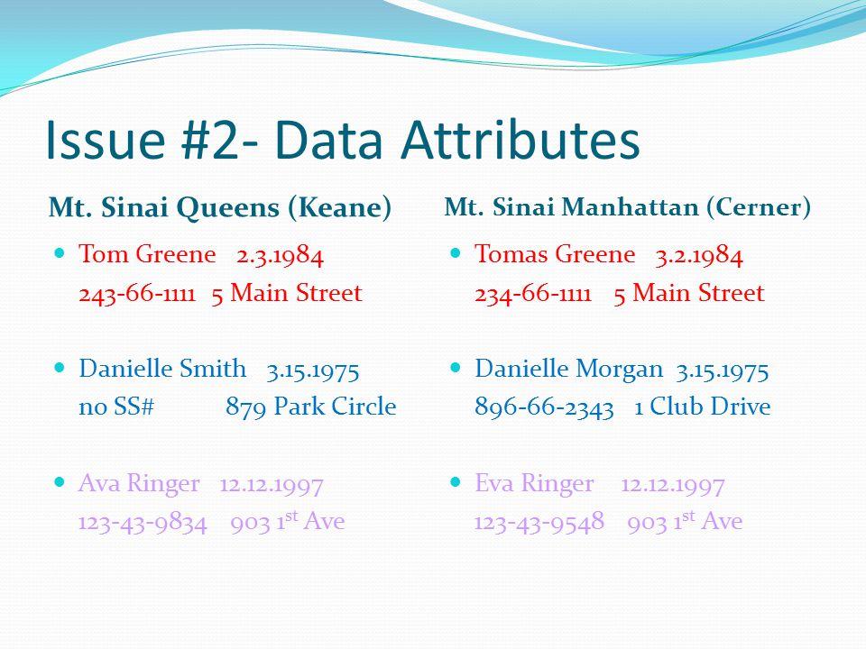 Issue #2- Data Attributes Mt. Sinai Queens (Keane) Mt.