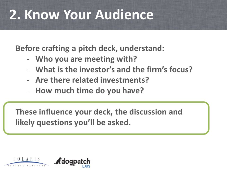 2. Know Your Audience Before crafting a pitch deck, understand: -Who you are meeting with.