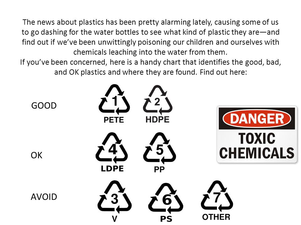 The news about plastics has been pretty alarming lately, causing some of us to go dashing for the water bottles to see what kind of plastic they are—and find out if we've been unwittingly poisoning our children and ourselves with chemicals leaching into the water from them.