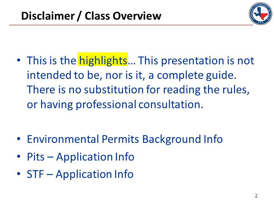 BACKGROUND INFORMATION Environmental Permitting 3