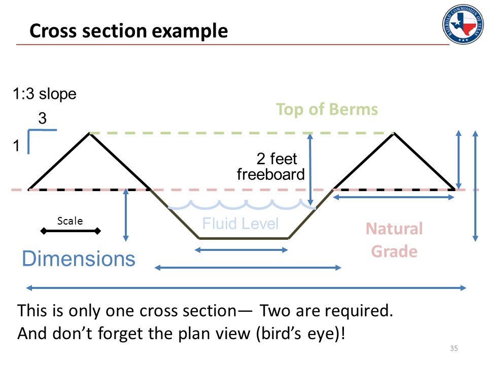 Cross section example 35 3 1 2 feet Top of Berms freeboard 1:3 slope Dimensions Fluid Level This is only one cross section— Two are required.