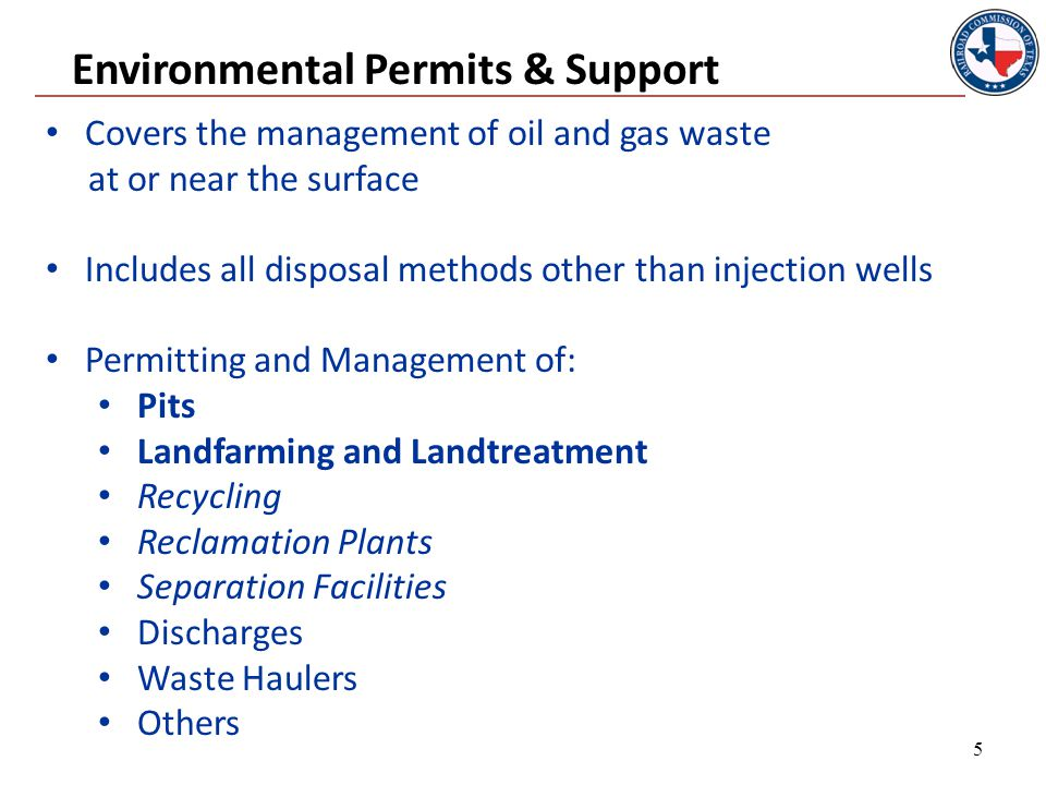 Rule 8 - Permitted Pits Examples of types of pits that require a permit: Commercial Fluid Recycling Pit Disposal Pit Collecting Pit Emergency Saltwater Storage Pit Brine Pit Washout Pit Washout of empty trucks– wash water and incidental pollutants Skimming Pit Gas Plant Evaporation/Retention Pit 16