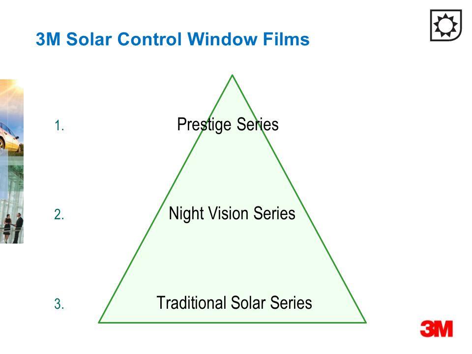 3M Solar Control Window Films 1. Prestige Series 2. Night Vision Series 3. Traditional Solar Series