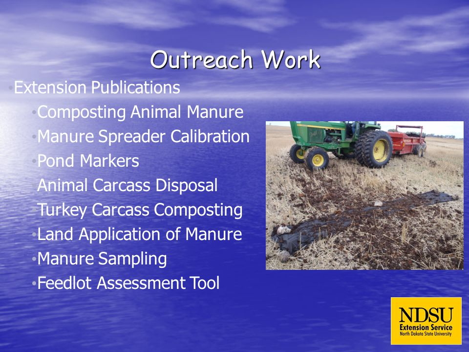 Outreach Work Extension Publications Composting Animal Manure Manure Spreader Calibration Pond Markers Animal Carcass Disposal Turkey Carcass Composting Land Application of Manure Manure Sampling Feedlot Assessment Tool