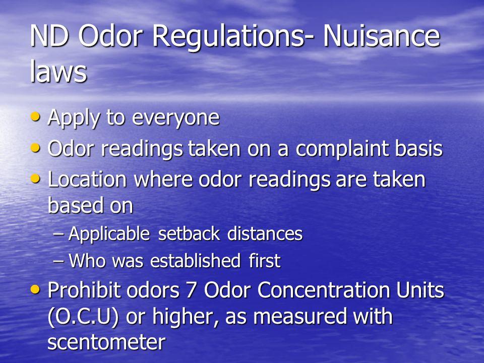 ND Odor Regulations- Enforcement Upon first apparent violation Upon first apparent violation –notice of the apparent noncompliance –establish an odor management plan.