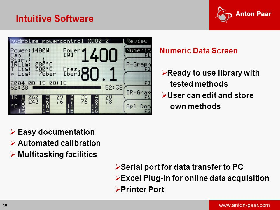 10 Intuitive Software  Easy documentation  Automated calibration  Multitasking facilities Numeric Data Screen  Serial port for data transfer to PC  Excel Plug-in for online data acquisition  Printer Port  Ready to use library with tested methods  User can edit and store own methods