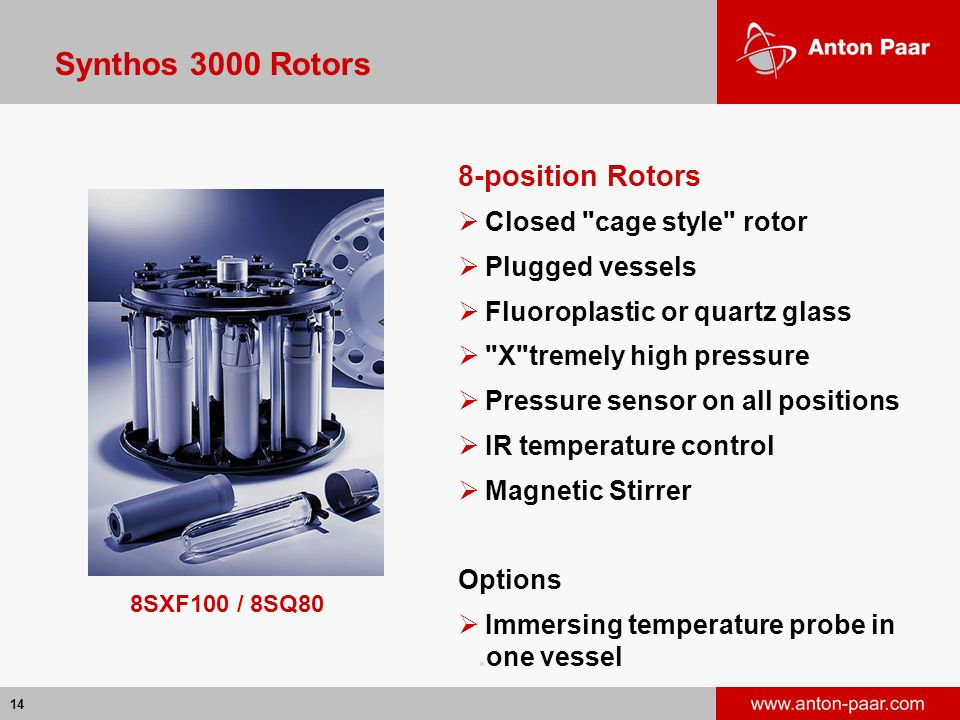 14 8SXF100 / 8SQ80 Synthos 3000 Rotors 8-position Rotors  Closed cage style rotor  Plugged vessels  Fluoroplastic or quartz glass  X tremely high pressure  Pressure sensor on all positions  IR temperature control  Magnetic Stirrer Options  Immersing temperature probe in.one vessel
