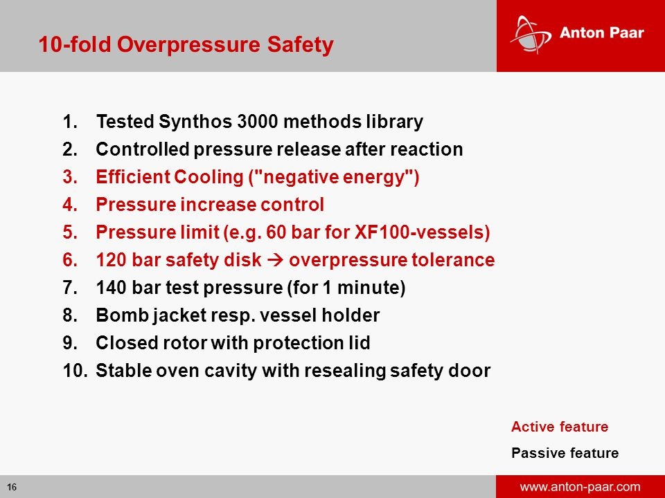 16 10-fold Overpressure Safety 1.Tested Synthos 3000 methods library 2.Controlled pressure release after reaction 3.Efficient Cooling ( negative energy ) 4.Pressure increase control 5.Pressure limit (e.g.