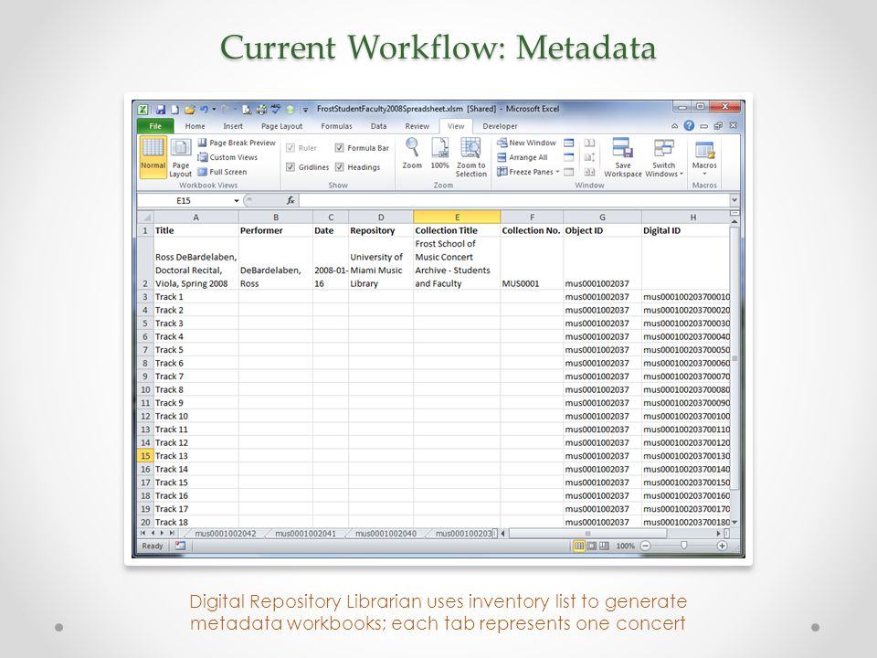 Current Workflow: Metadata Digital Repository Librarian uses inventory list to generate metadata workbooks; each tab represents one concert