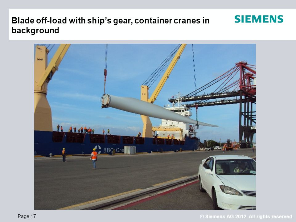 © Siemens AG 2012. All rights reserved. Page 17 Blade off-load with ship's gear, container cranes in background