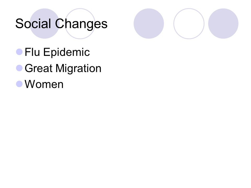 Social Changes Flu Epidemic Great Migration Women