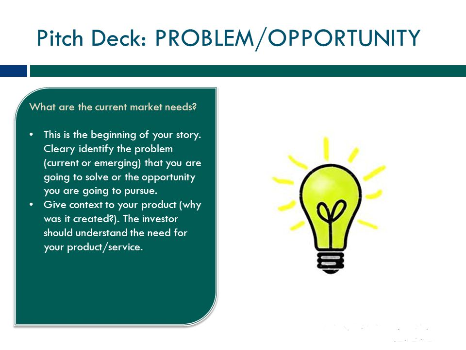 Pitch Deck: SOLUTION What is the product/service and how is it going to address the problem.