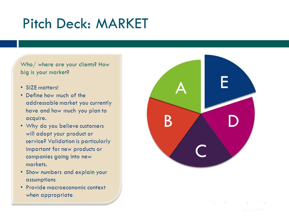 Pitch Deck: MARKET Who/ where are your clients? How big is your market? SIZE matters! Define how much of the addressable market you currently have and