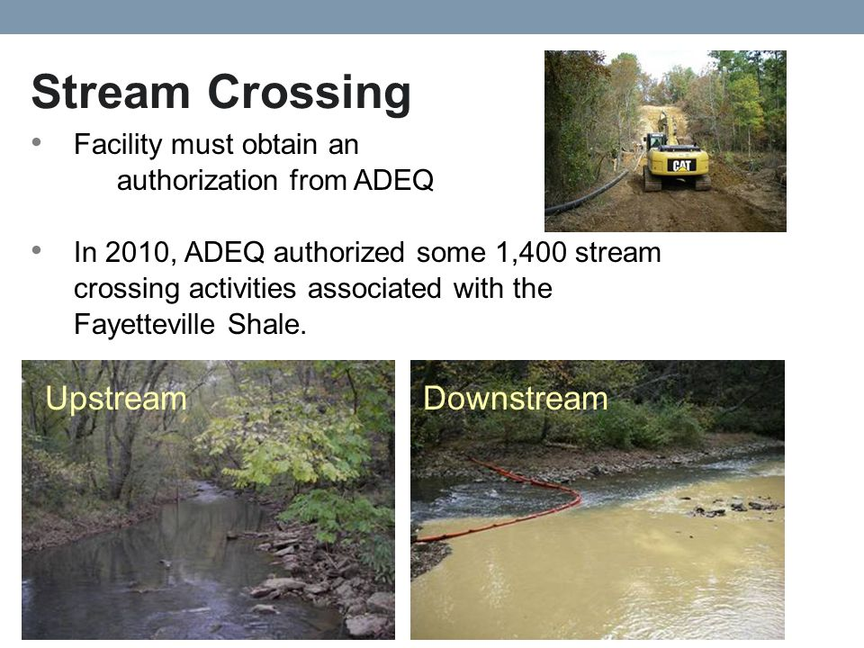 Stream Crossing Facility must obtain an authorization from ADEQ In 2010, ADEQ authorized some 1,400 stream crossing activities associated with the Fayetteville Shale.