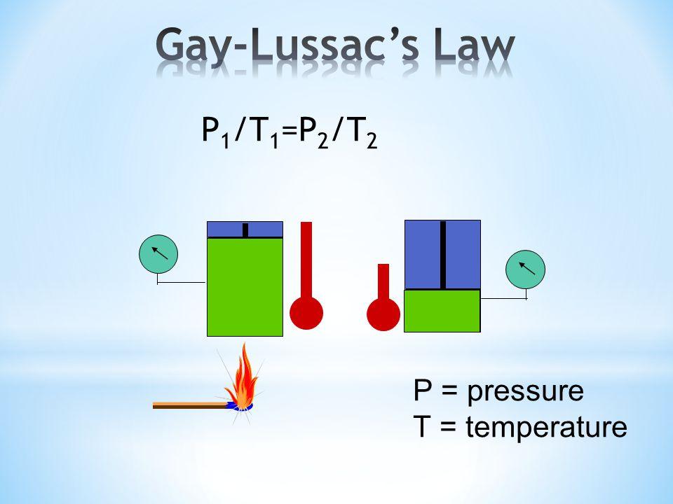 P 1 /T 1 =P 2 /T 2 P = pressure T = temperature