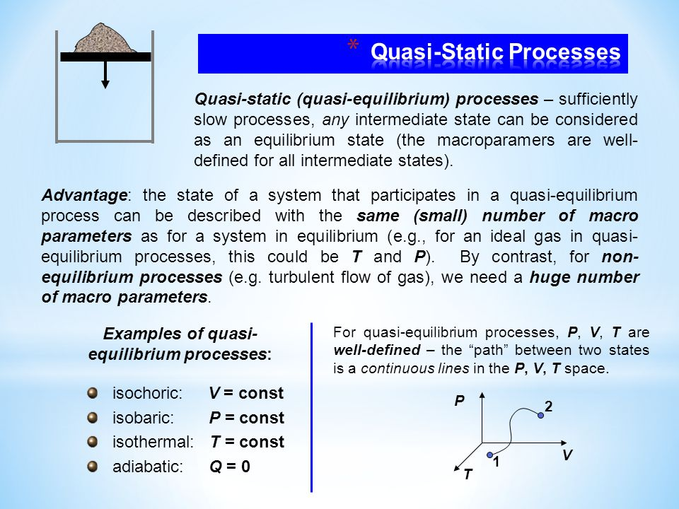 Quasi-static (quasi-equilibrium) processes – sufficiently slow processes, any intermediate state can be considered as an equilibrium state (the macroparamers are well- defined for all intermediate states).