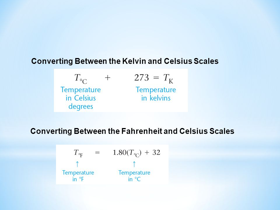 Converting Between the Kelvin and Celsius Scales Converting Between the Fahrenheit and Celsius Scales