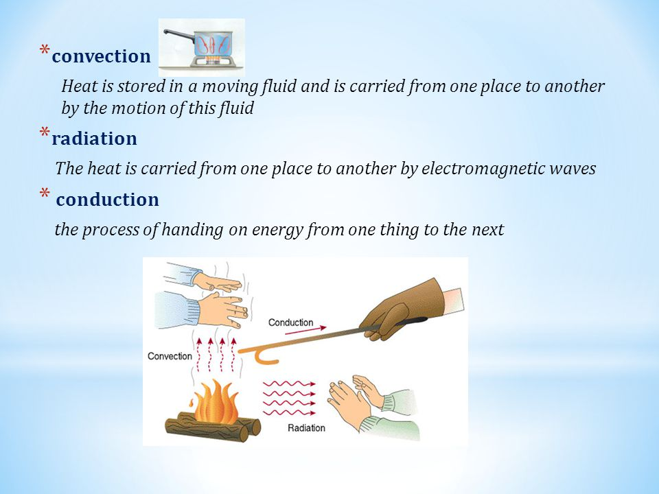 * convection Heat is stored in a moving fluid and is carried from one place to another by the motion of this fluid * radiation The heat is carried from one place to another by electromagnetic waves * conduction the process of handing on energy from one thing to the next
