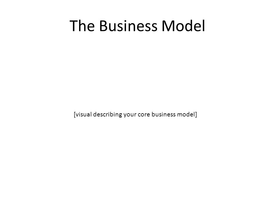 The Business Model [visual describing your core business model]